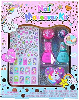Hot Focus 80+ Rainbow Unicorn Nail Makeover Art Kit-Water Based Peel-Off Scented Nail Polish, Jars of Glitter, Nail File, Nail Patches & Stickers, Perfect Manicure Pedicure Birthday Girl Gift Idea…