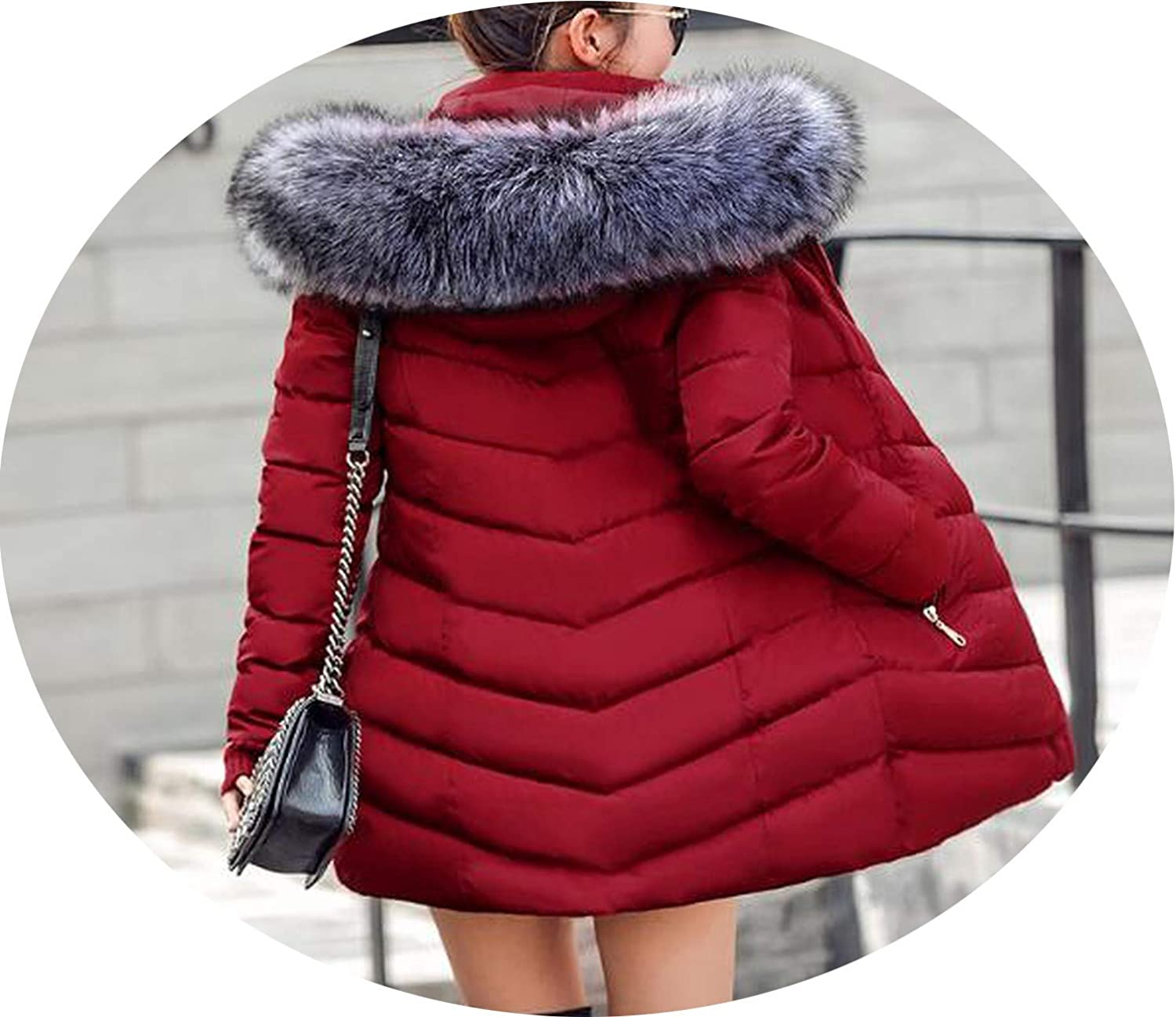 Black Winter Jacket Women Large Fur Outerwear Long Down CottonPadded Jacket Coat