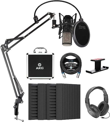 wholesale AKG P420 Large-Diaphragm Condenser Microphone Bundle with Blucoil 4X 12 Acoustic Wedges, 10-FT Balanced XLR Cable, Boom Arm Plus Pop Filter, Samson SR350 Headphones, and 2021 Aluminum Headphone discount Hook sale