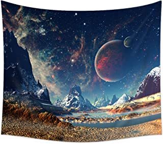 Uphome Wall Tapestry Hanging, Planet with Earth Moon and Mountains – Light-Weight Polyester Fabric Wall Decor (60