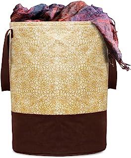 Kuber Industries Metalic Printed Waterproof Canvas Laundry Bag, Toy Storage, Laundry Basket Organizer 45 L (Brown) CTKTC03...