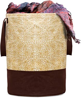 Kuber Industries Metalic Printed Waterproof Canvas Laundry Bag, Toy Storage, Laundry Basket Organizer 45 L (Brown) CTKTC03461
