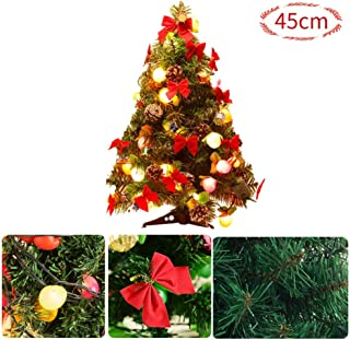 T-REASURE 45cm Tabletop Xmas Tree with LED Fruit Lights,13 Red Bowknot Pinecone Drum Ornaments, DIY Mini Artificial Christmas Pine Tree for Christmas Party, Yard, Garden Decor