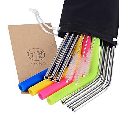TISRO Mouth Safe Reusable Straws, 6 Metal 4 Sil...
