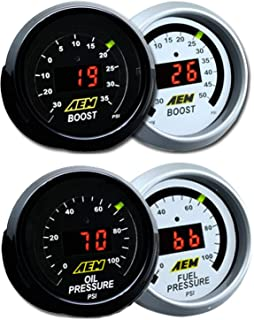 AEM 2 Gauges 52mm Combo Set Oil/Fuel Pressure + Turbo Boost -30-50psi