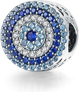Sterling Silver Evil Eye Charm Bangle Bracelet DIY Charm Heart Hand Charms Beads Mom Charm Dad Charm Daughter Charm Family...