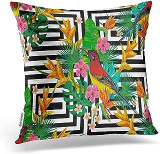 Leisure-Time Funda de Almohada Patrón de Verano Tropical Aves Hojas de Palmera Flores exóticas Decoración Fundas de Almohada