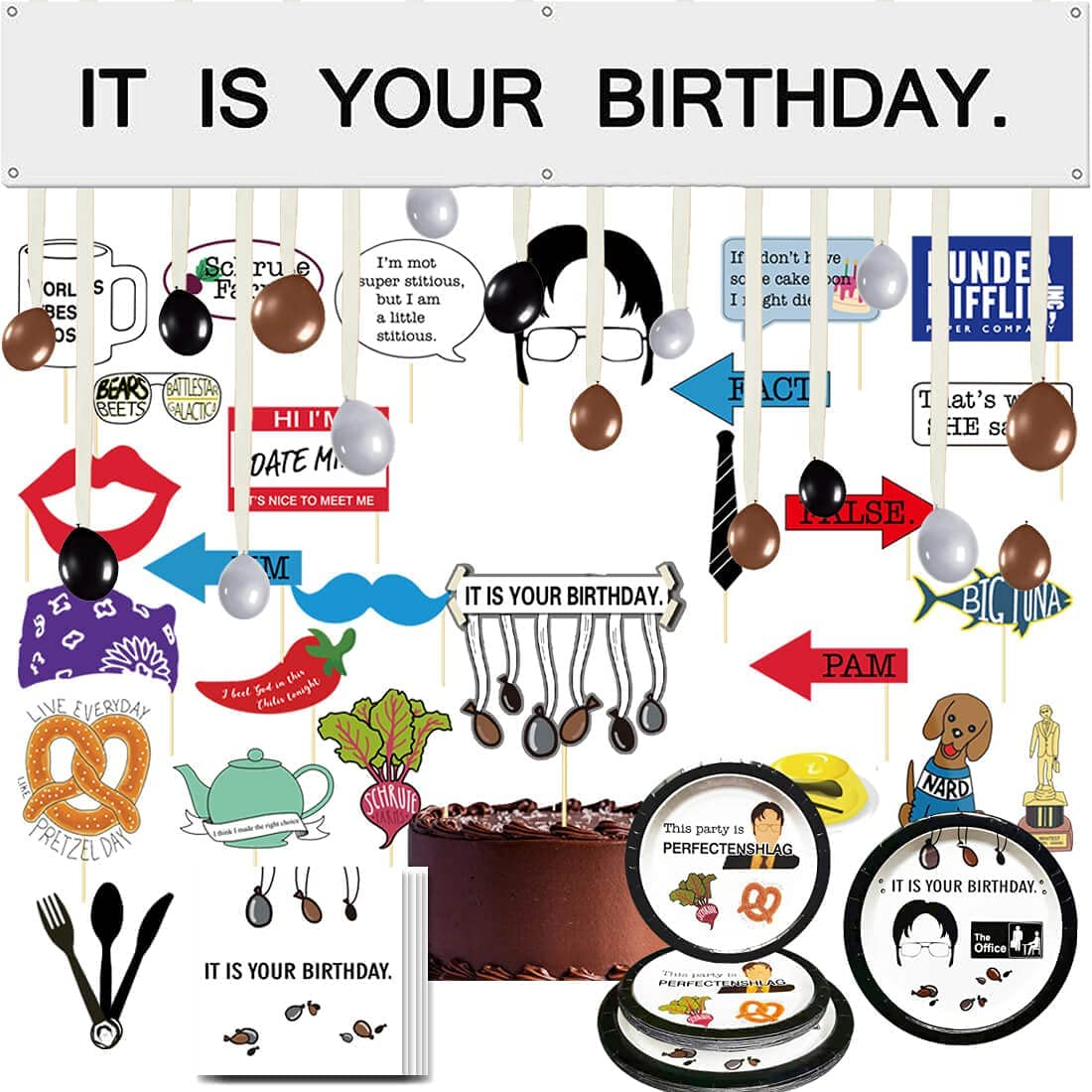 It is Your Birthday Banner, The Office Dwight Theme Infamous Husband Birthday Photo Booth Props Party Decorations The Office Cake Topper Party Merchandise by Dwight K. Schrute Baby Boy 16 Guests