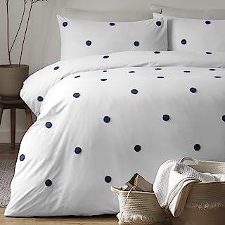 Appletree Set, Cotton, White/Navy, Super King, W260cm x L220cm (Duvet Cover), W50cm x L75cm (Pillow Case)