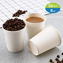 Paper Cups, 50 Pack 8 Oz Paper Cups, White Paper Coffee Cups 8 Oz Disposable White Hot Coffee Paper Cups Paper, 8 Oz Disposable Water Paper Cups Paper Water Cups, Coffee Cups Paper Cups Water Cups