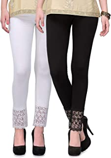 DESIGNESTY Women's Viscose Lycra Leggings with Lace Bottom (Multicolour, Free Size) -Combo Pack of 2