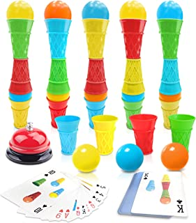 Gamie Ice Cream Competition Game - Fast Action Game for Boys and Girls - Develops Color Recognition and Hand-Eye Coordination - Fun Family Game Night Idea - for Kids Ages 6+