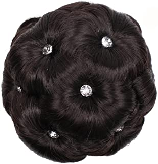 Suppion Female Wig Hair Ring Curly Bride Makeup Diamond Bun Flowers Chignon Hairpiece