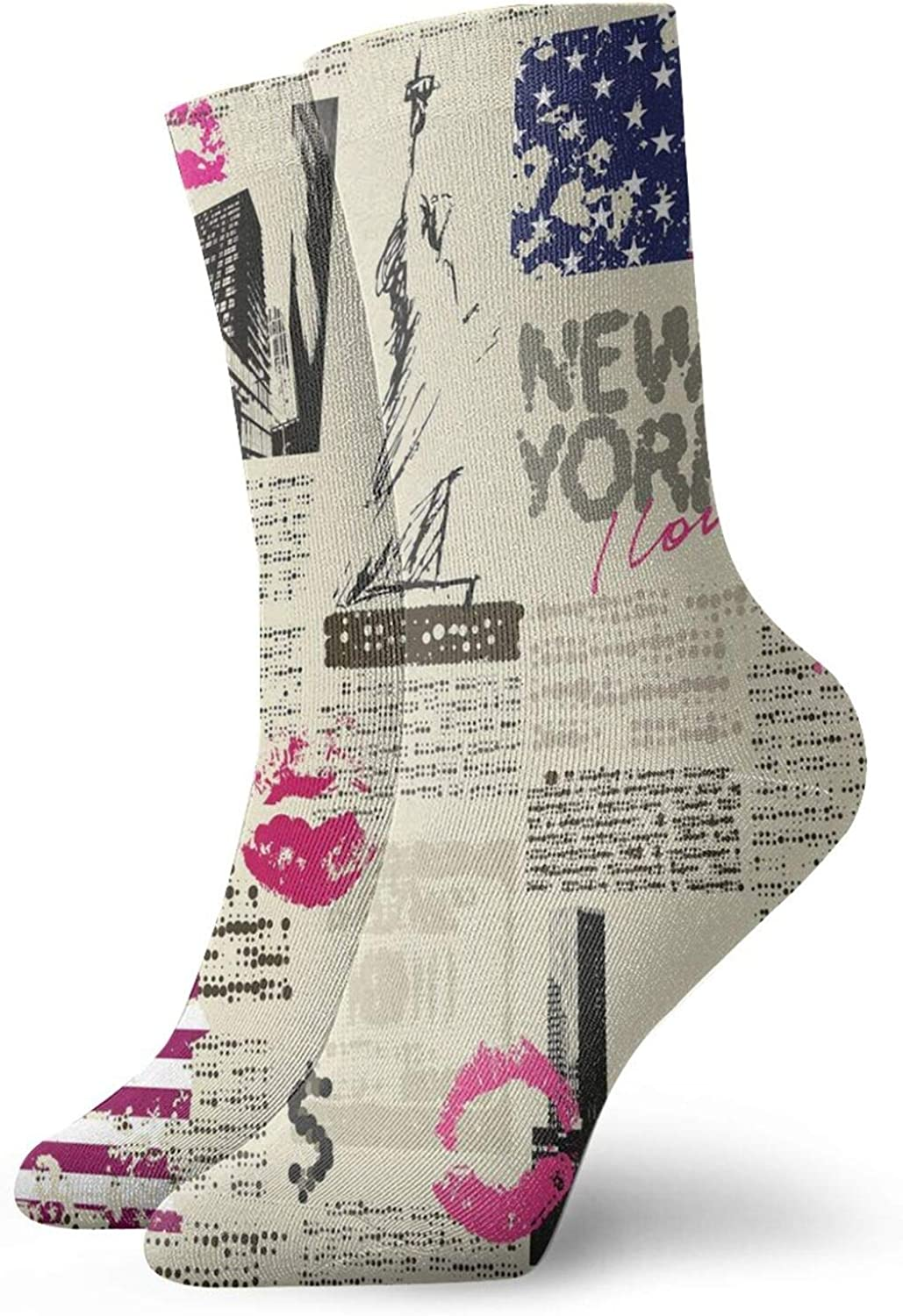 Men's and Women's Funny Casual Socks Newspaper York With Sketchy Statue Of Liberty And Texts Lipstick Vintage