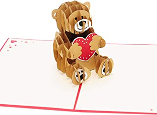 Love Bear Pop Up Card. Cute 3D Hand Assembled Bear Holding a Heart. Ideal for Valentine's Day, Mother's & Father's Day, Husband & Wife Anniversary or any Birthday.