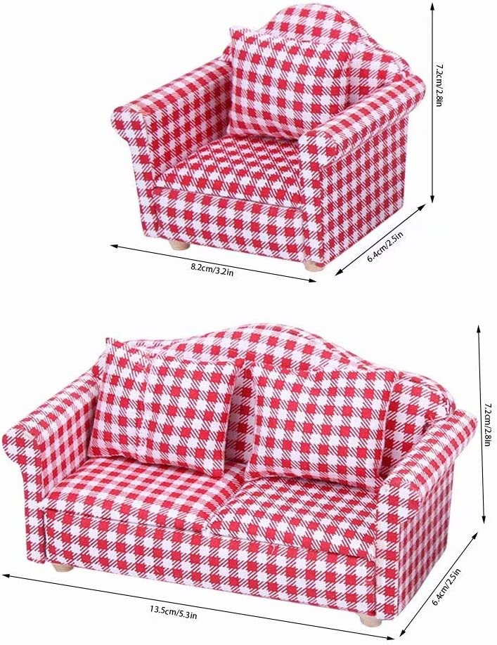 Creative Birthday Handcraft Gift Red Miniature Accessory Kids Pretend Toy Sofa for 1 for Doll House iLAZ 1:12 Scale Dollhouse Furniture Miniature Mini Arm Chair