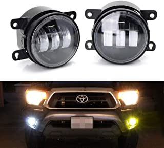 iJDMTOY Clear Lens 6000K White/2500K Yellow Dual Color 20W High Power LED Fog Light Assembly For Acura Honda Ford Nissan Subaru Land Rover Suzuki, etc