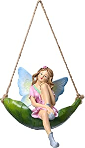 TERESA'S COLLECTIONS Fairy Garden Statue and Sculpture, OutdoorHangingFairy Sitting on a Leaf Swing, HammockAngel Figurine for Lawn Patio Yard Tree Decorations