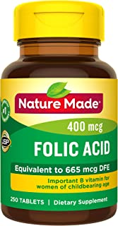 Nature Made Folic Acid 400 mcg (665 mcg DFE) Tablets, 250 Count (Pack of 3)
