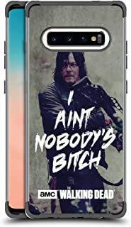Official AMC The Walking Dead Daryl Typography Black Shockproof Fender Case Compatible for Samsung Galaxy S10+ / S10 Plus