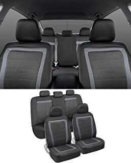 BDK All-Protect Car Seat Covers (Full Set) – Front & Rear Coverage with Two-Tone Charcoal Honeycomb Design for Sedans, Vans, Trucks and SUVs