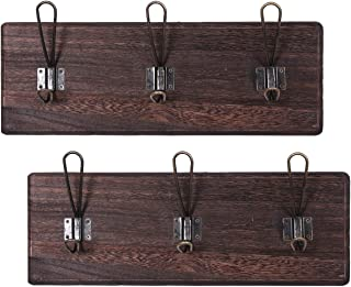 """Rustic Wall Mounted Coat Rack with 3 Sturdy Hooks – Set of 2 – Vintage Entryway Wooden Coat Racks – Rustic Rack for Coats, Bags, Towels and More – 35"""" x 6.10"""