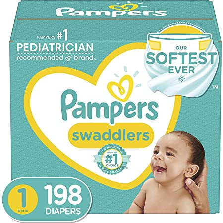 Diapers Size 1 (8-14 lbs) Newborn, 198 Count - Pampers Swaddlers Disposable Baby Diapers, ONE MONTH SUPPLY (Packaging May Vary)