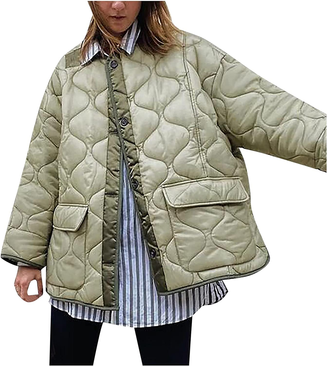 Aritone Clearance!! Coat Jacket Women's Casual Loose-Fitting Pocket Winter Single-Breasted Warm Cotton-Padded Jacket