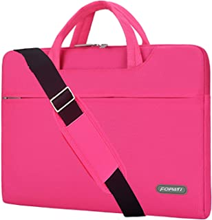 YOUPECK 14 15 inch Laptop Case, Laptop Shoulder Bag, Waterproof Notebook Sleeve, Carrying Case with Strap for MacBook Air Pro 15.4/ 14inch HP Stream Samsung Acer Asus Dell Lenovo Chromebook, Pink