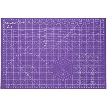 Tukcherry A3 Double Sided Cutting Mat Self Healing Rotating Cutting Mat Patchwork Tools Craft PVC Cutting Board for Quilting Sewing (Purple, A3)