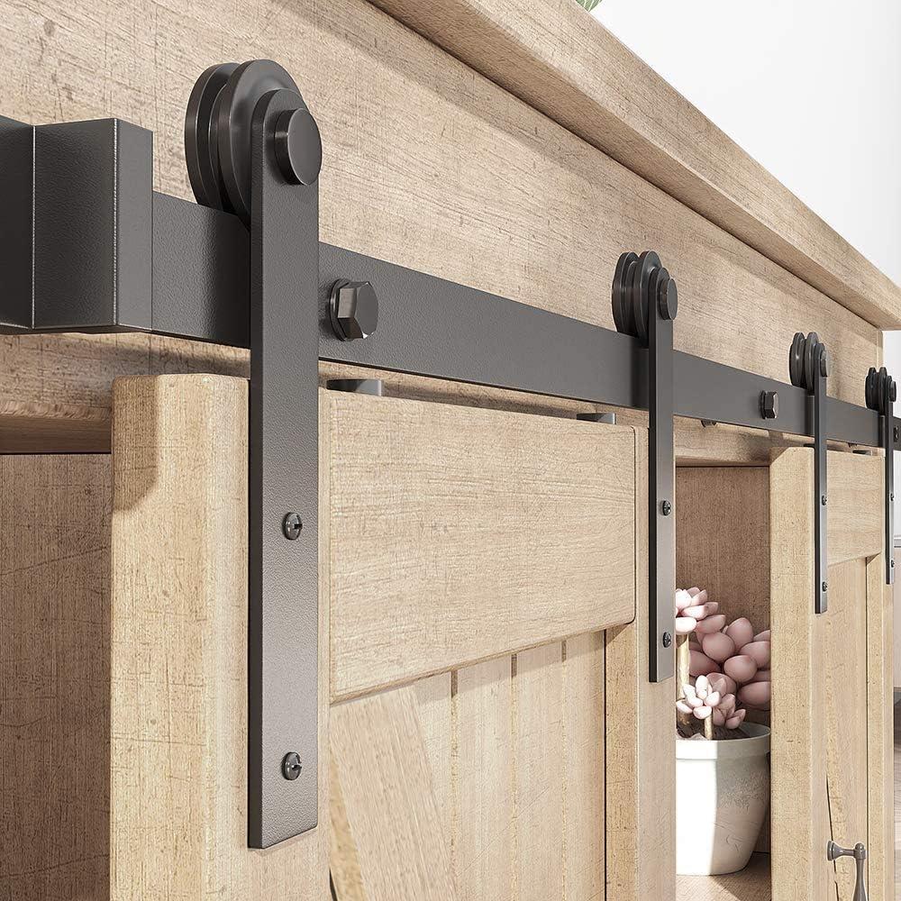 2.5 FT, Single Door Kit ZEKOO 2.5-8FT Super Mini Sliding Barn Door Hardware Kit Top Mounting Black Roller Rails for Closet TV Stand Furniture Storage Cabinet System