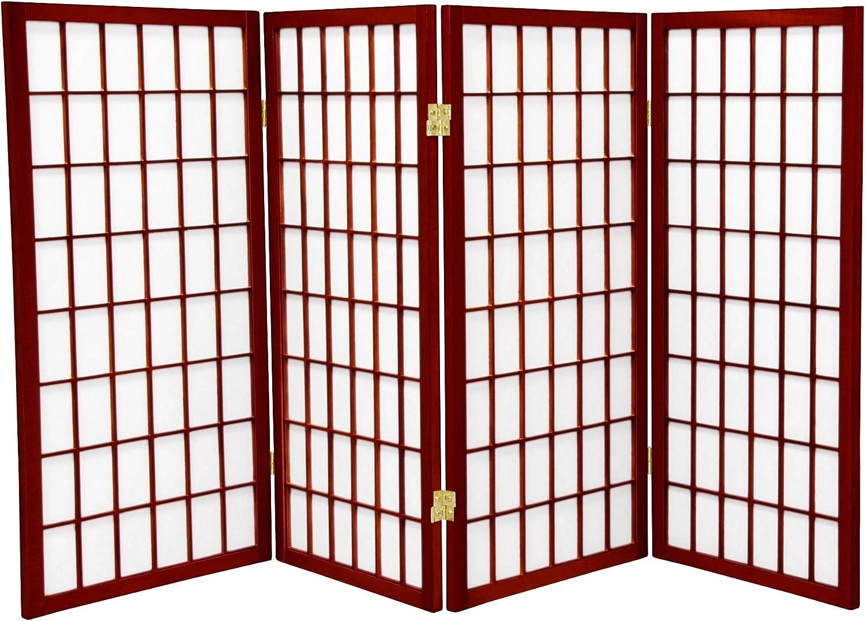 Oriental Furniture 3 ft. Tall Window Pane Shoji Screen - Rosewood - 4 Panels