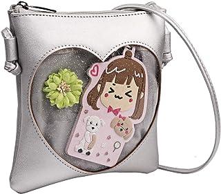 Shidan Damen Einstellbar Transparent Herz Ita-Umhängetasche Schulter-Handy-Geldbörse mit Reißverschluss