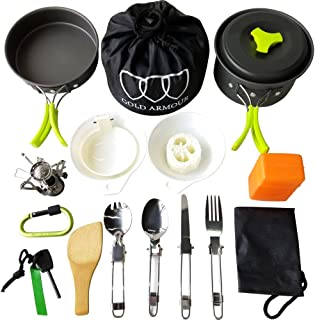 Gold Armour 17 Pieces Camping Cookware Mess Kit Backpacking Gear and Hiking Outdoors Bug Out Bag Cooking Equipment Cookset | Lightweight, Compact, Durable Pot Pan Bowls (Green)