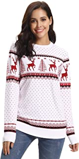 Aibrou Suéter de Navidad para Familia,Jersey Pullover de Punto de Copos de Nieve de Renos,Pareja suéter de Navidad,Suéter ...