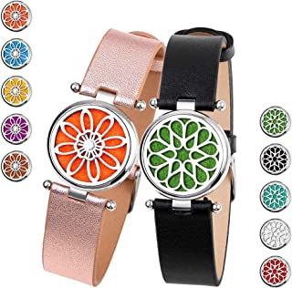 Aromatherapy Essential Oil Diffuser Bracelet - TTstar 2PCS Genuine Leather Wristband Aromatherapy Essential Oil Bracelet Stainless Steel Locket Pendant with 20 Refill Pads, Suitable for Man and Women