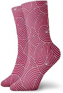 赤い波ループファッショナブルなカラフルなファンキー柄の綿のドレスソックス11.8インチ