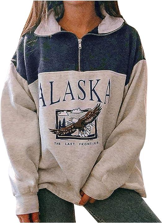 Onsoyours Sudadera para Mujer Alaska Letra Impresi/ón Suelta Casual Manga Larga Hip Hop Alto Cuello Redondo Cremallera /Águila Gr/áfico Jerseys Pullover Top