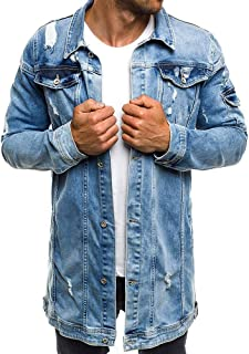 Men's Denim Coat Tops Beautyfine Autumn Winter Casual Vintage Wash Distressed Jacket Blouse