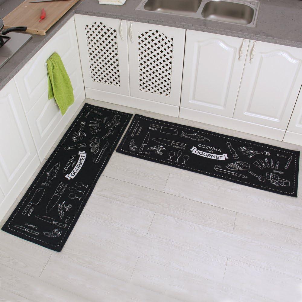 Carvapet 2 Pieces Non-Slip Kitchen Mat Set Rubber Backing Doormat Runner Rug Set, Cozinha Design (Navy Blue 15