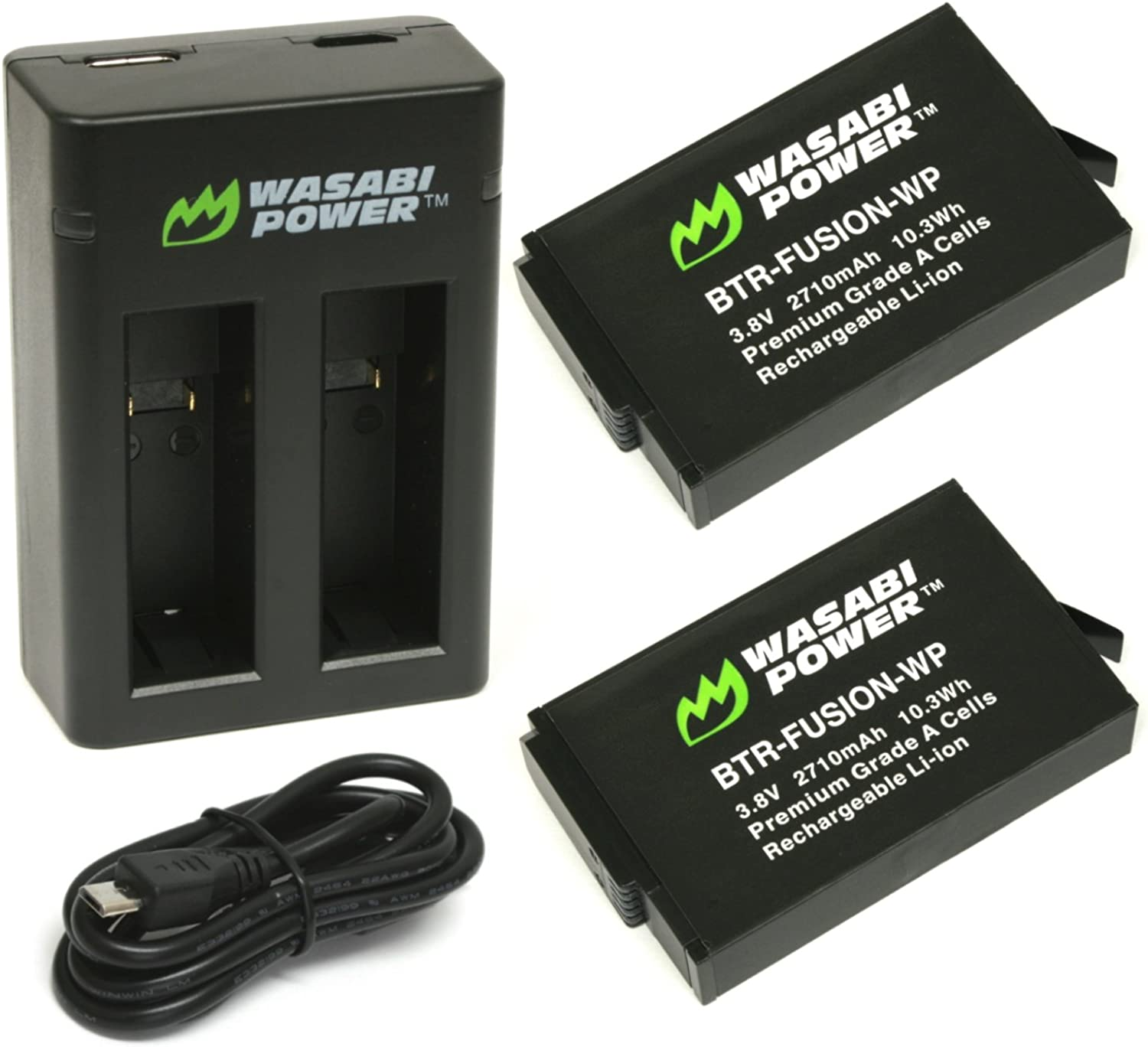 Wasabi Power Battery (2-Pack) and Dual USB Charger for GoPro Fusion and GoPro ASBBA-001