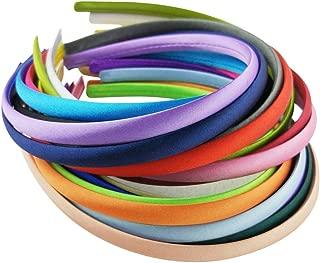 Hixixi 20pcs Pack Girls/Women DIY Satin Fabric Covered Ribbon Headbands Hairband