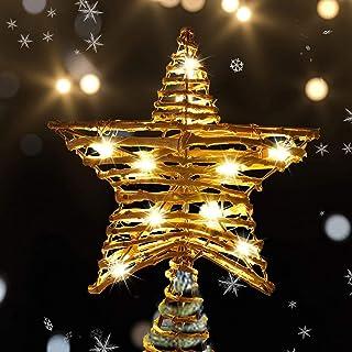 "winemana Christmas Tree Topper, 9.4"" X 12"" Rattan Christmas Star Tree Topper with 10 Warm White Lights Lights, Rustic Prel..."