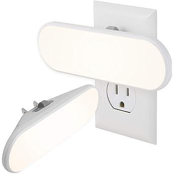 GE Ultrabrite LED Light Bar, 2 Pack, 100 Lumens, Plug-in, Dusk-to-Dawn Sensor, Auto/On/Off Switch, Home Décor, Ideal for Bedroom, Bathroom, Nursery, Kitchen, Hallway, White, 46707, 2