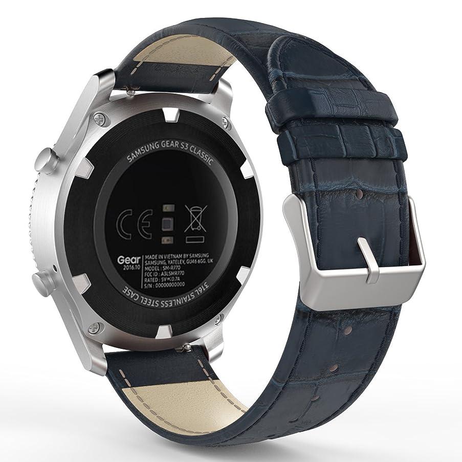 イブニングカフェテリア騒ぎワニ柄 本革 ソフト腕時計ストラップ/バンド 交換ベルト Garmin Vivomove/Samsung Gear S3 Classic/S3 Frontier/Moto 360 2世代46mmに対応 22mm幅のウォッチに対応 (22MM, 青)
