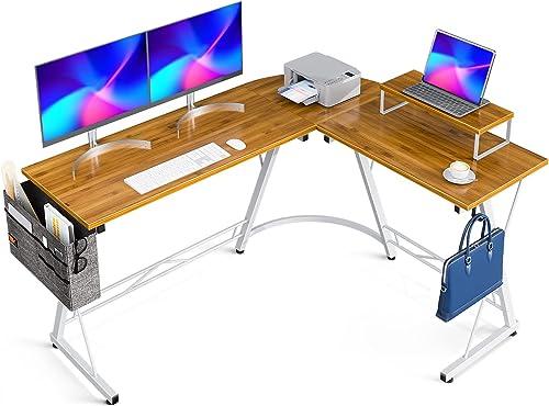 "popular Casaottima L Shaped Desk, 58"" Gaming Desk, Computer Desk, L Desk, 2021 Home Office Desk with Iron Hook, lowest Movable Monitor Stand Workstation, Bamboo online sale"