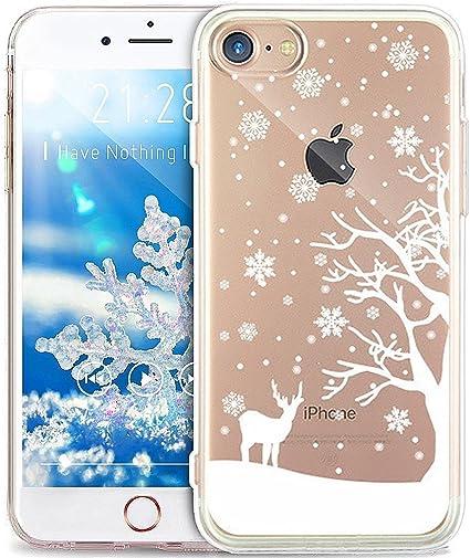 Surakey iPhone 7/iPhone 8 Cover, Silicone Morbido Custodia Trasparente con Disegni Fantasia di Natale Anti-Graffio TPU Case Ultra Slim Flessibile ...