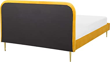 Beliani - Lit Double - Flayat - 160 x 200 cm en Velours, Jaune