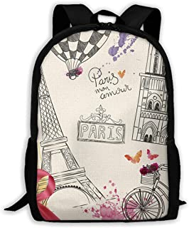 FBHA Travel Backpack Laptop Backpack Large Diaper Bag - Hand Drawn Parisian Backpack School Backpack for Women & Men