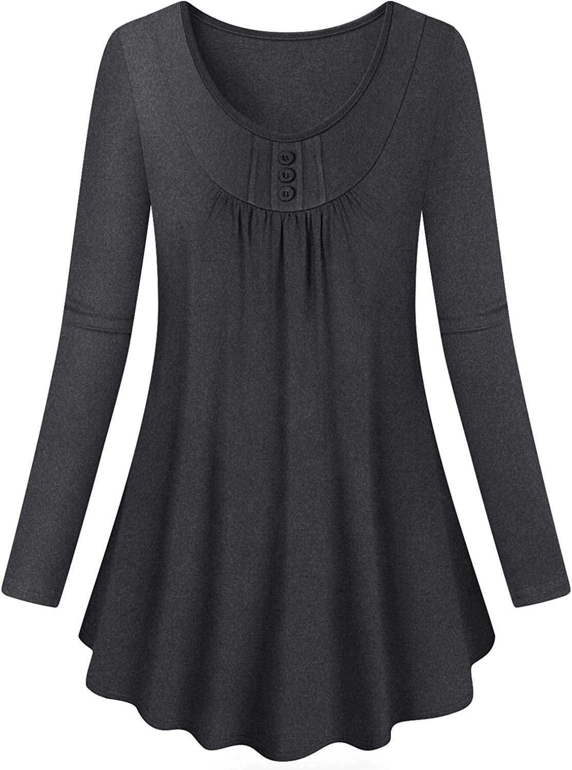 Luranee Women's Long Sleeve Button Decor Tunic Tops Loose Fitting Blouses